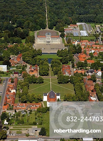 Areal view, baroque castle Ludwigslust, town church, Ludwigslust, Mecklenburg-Western Pomerania, Germany, Europe