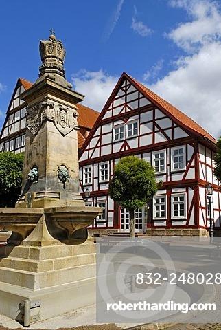 Market square, historic town centre, Hofgeismar, Hesse, Germany, Europe