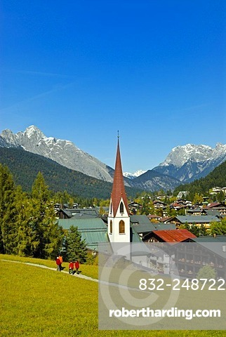 St. Oswald parish church, Seefeld, alps, Karwendel, Tyrol, Austria, Europe