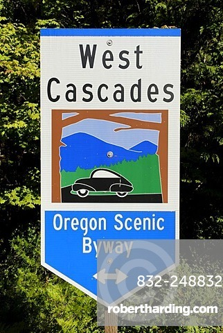 Sign, signpost of the West Cascades Scenic Byway, Oregon, USA