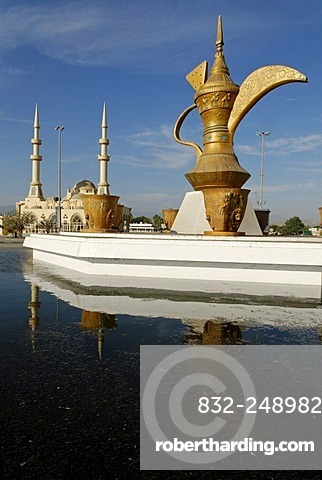 Fountain with oversized coffee pot, mosque, Emirate of Fujairah, United Arab Emirates, Arabia, Near East