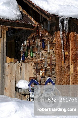 Snow shoes in front of the Dunton Hot Springs Lodge, Colorado, USA