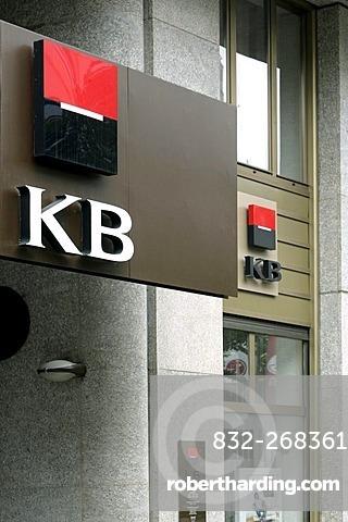 Logo on the headquarters of the Komercni Banka KB bank in Prague, Czech Republic, Europe
