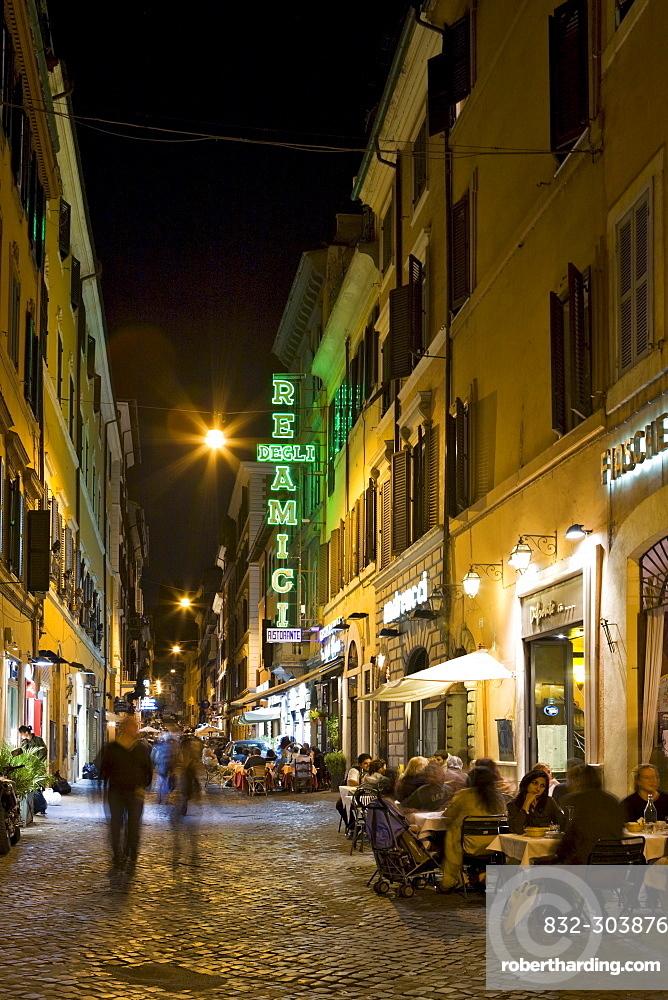 Alleys and restaurants near the Spanish Steps (Italian: Scalinata della Trinita dei Monti) at night, Rome, Italy, Europe