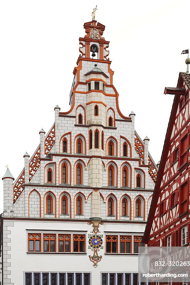 Gothic town hall, Bad Waldsee, Upper Swabia, Baden-Wuerttemberg, Germany, Europe