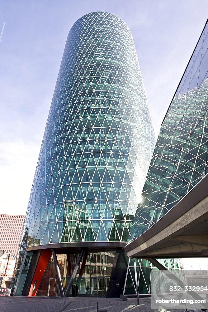 Westhafen Tower, designed by Schneider and Schumacher architectural firm, winner of the 2004 German urban architectural prize, Frankfurt, Hesse, Germany, Europe