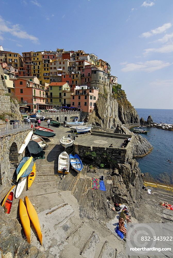 Picturesque cliff-top houses and the marina, harbour, of the village of Manarola in Cinque Terre, Liguria, Italy, Europe