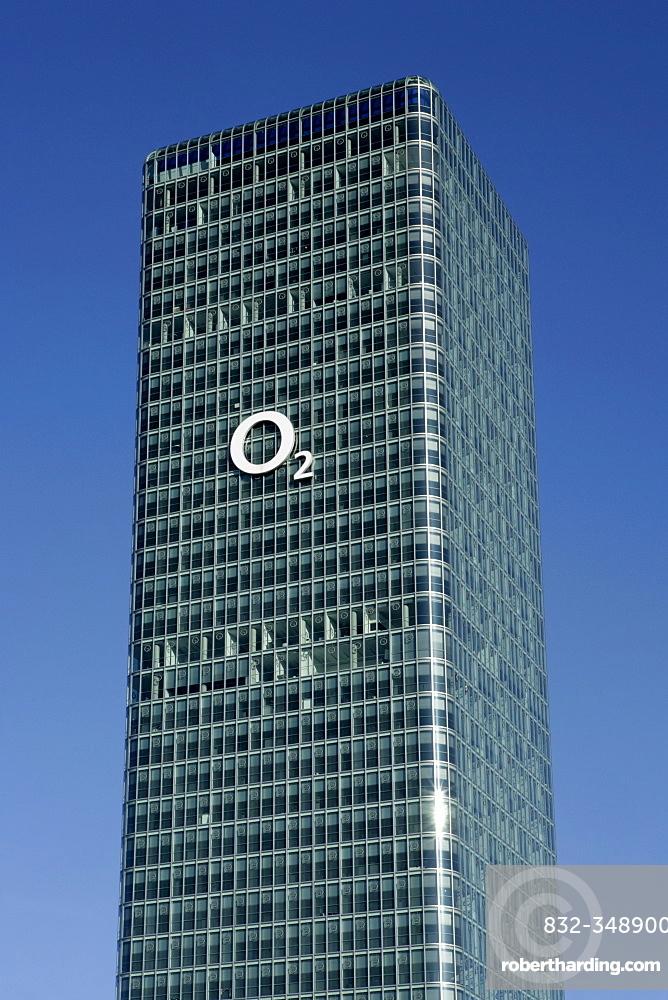O2 (telecommunications company) logo on a high-rise in Munich, Bavaria, Germany, Europe