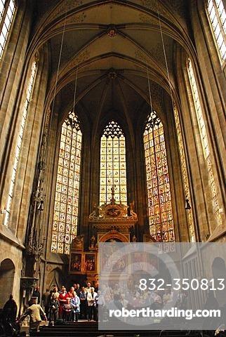 Choir rehearsal in the town church Saint Dionys Esslingen at the Neckar Baden Wuerttemberg Germany