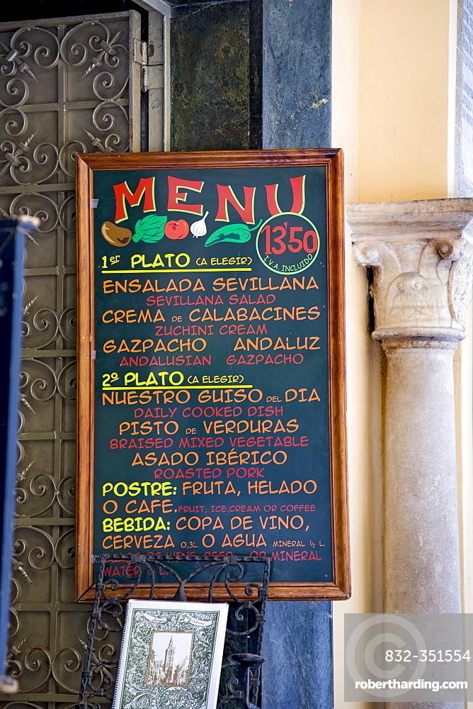 Menu, bar, Seville, Andalusia, Spain, Europe