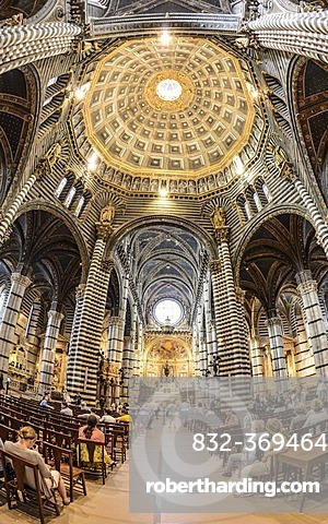 Interior view, Cathedral of Siena, Cattedrale di Santa Maria Assunta, main church of the city of Siena, Tuscany, Italy, Europe