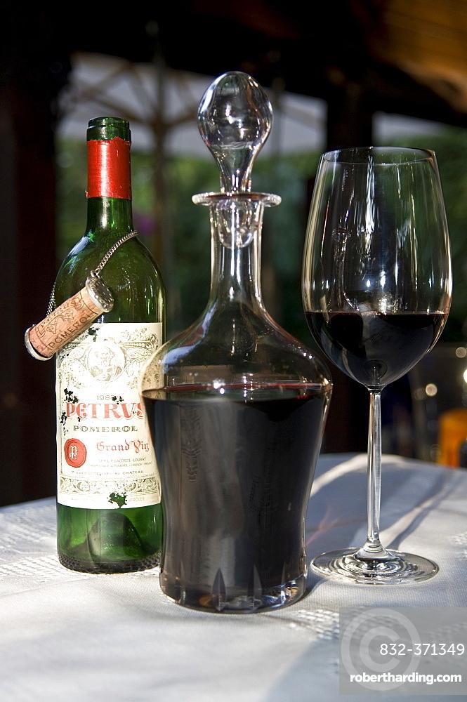Chateau Petrus Grand Cru Classe, Pomerol, bordeaux glass, wine carafe