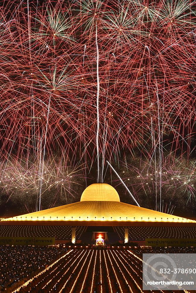 Fireworks at Wat Phra Dhammakaya, Chedi Mahadhammakaya Cetiya, Khlong Luang District, Pathum Thani, Bangkok, Thailand, Asia