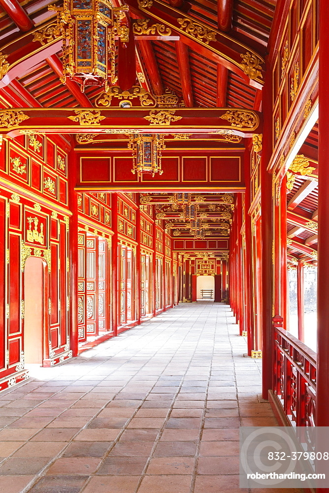 Right mandarin building or mandarin building 2 walkway at the imperial citadel of Hue, Vietnam, Asia