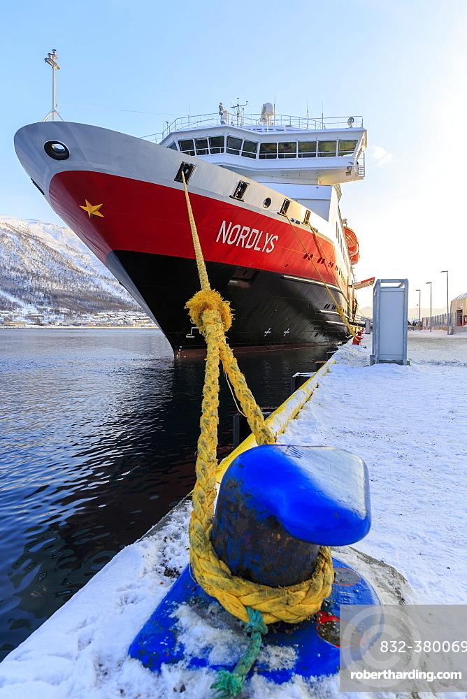Hurtigruten MS Nordlys docked at harbor, winter, Tromso, Troms Province, Norway, Europe