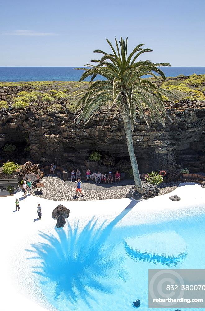 Swimming pool, lava cave Jameos de Aqua, by Cesar Manrique, Lanzarote, Canary Islands, Spain, Europe