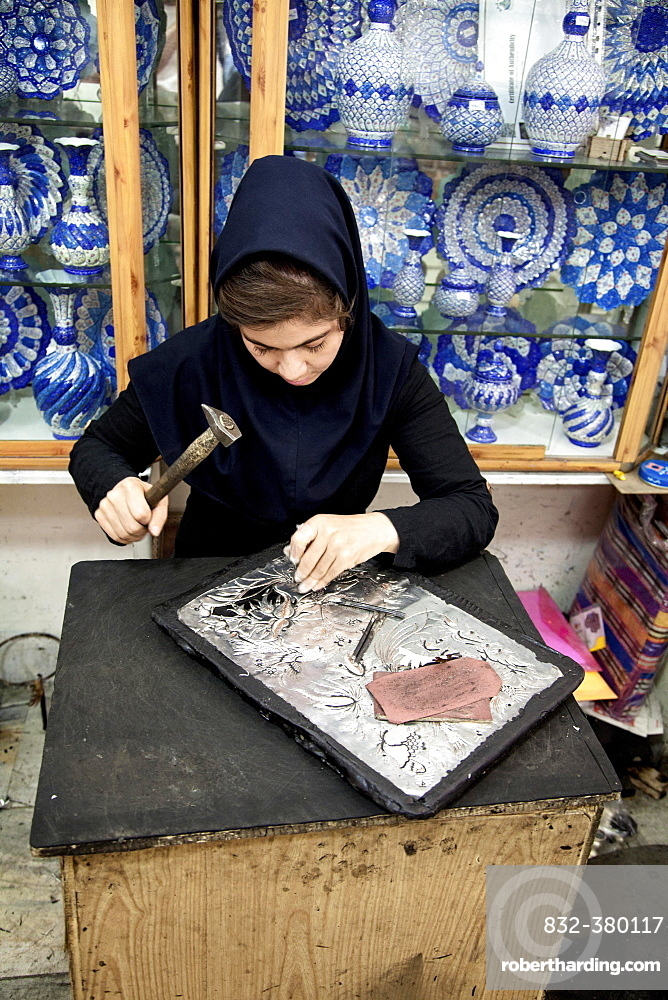 Woman working on copper, handicraft, Isfahan, Iran, Asia