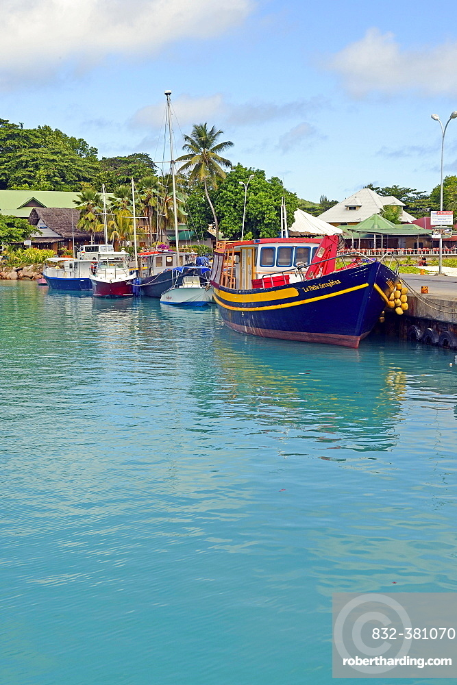 Port, jetty, La Digue Island, Seychelles, Africa