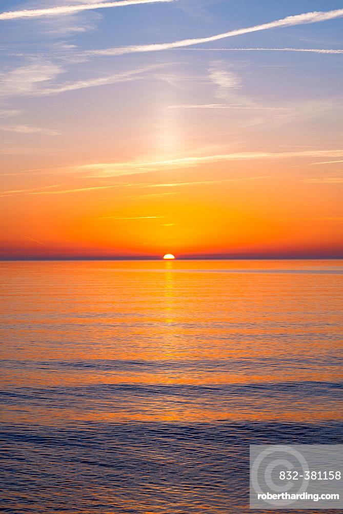Sunset over the Baltic Sea, Island Hiddensee, Mecklenburg-Western Pomerania, Germany, Europe