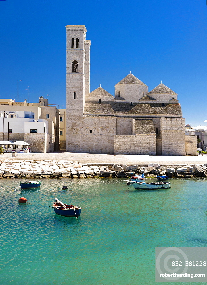 Fishing boats in the harbor, Romanesque Old Cathedral, San Corrado, Molfetta, Bari Province, Apulia, Italy, Europe