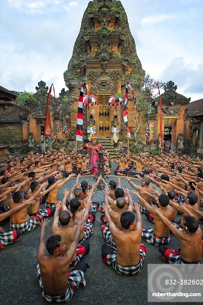 Performance of the Balinese Kecak dance, Ubud, Bali, Indonesia, Asia