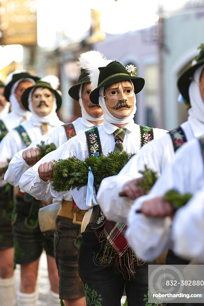 Schellenruhrer, Carnival procession, Nonsense Thursday, Mittenwald, Werdenfelser Land, Upper Bavaria, Bavaria, Germany, Europe