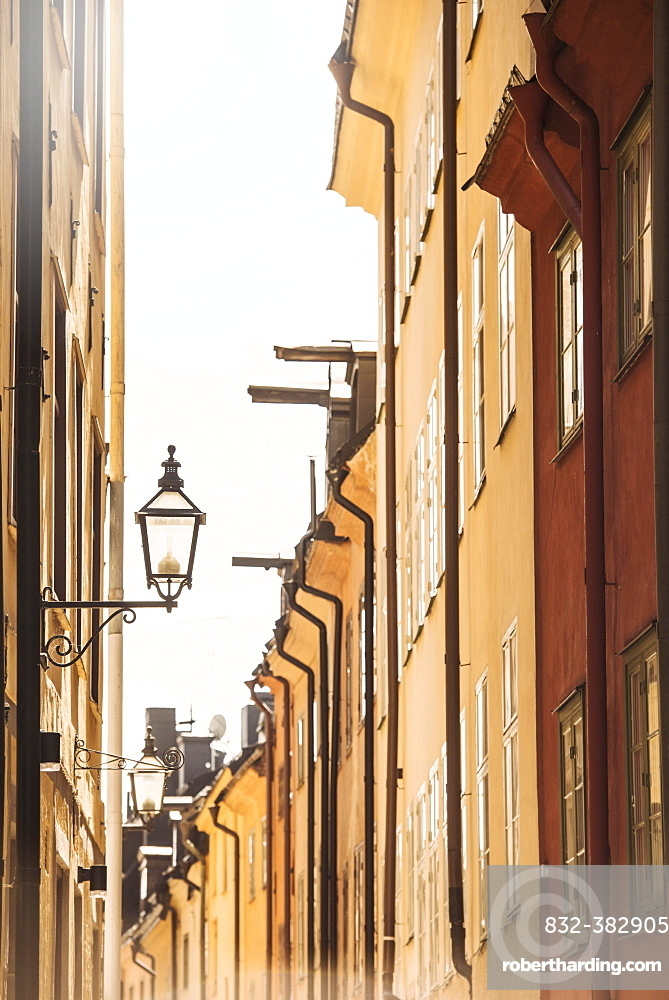 Old buildings in a narrow alley, Stockholm, Stockholm County, Sweden, Europe