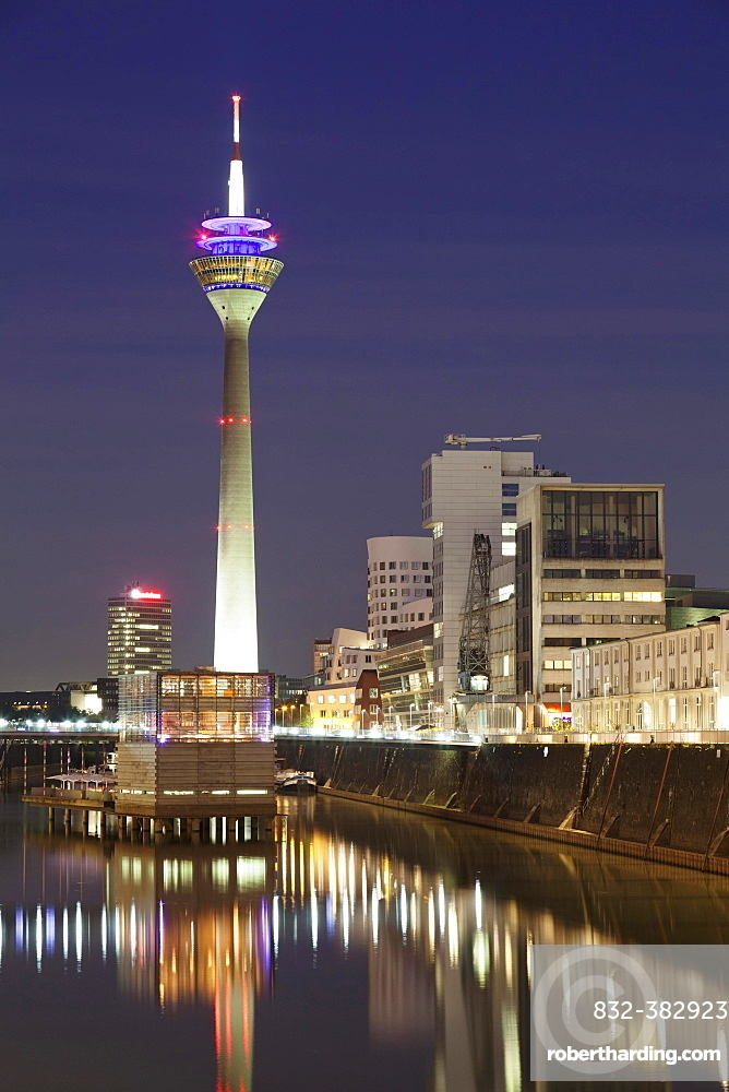 Media Harbour and Rhine Tower, Dusseldorf, North Rhine-Westphalia, Germany, Europe