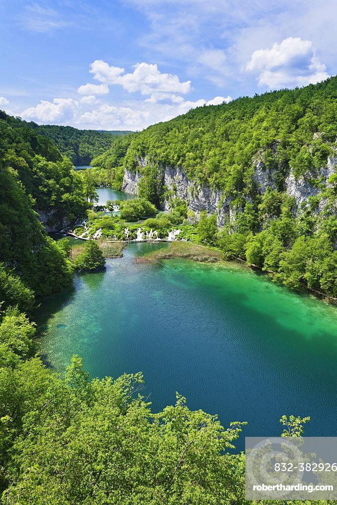 The lower lakes, Gavanovac Lake and Milanovac Lake, Plitvice Lakes National Park, UNESCO World Heritage Site, Croatia, Europe