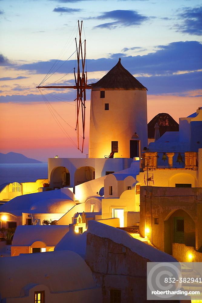 Windmill at sunset, Oia, Santorini, Cyclades, Greece, Europe