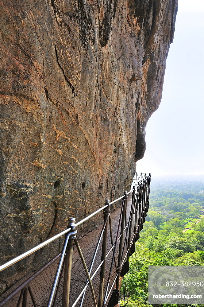 Iron nridge on the steep face of the Lion Rock, Sigiriya, UNESCO World Heritage Site, Sigiriya, Central Province, Sri Lanka, Asia