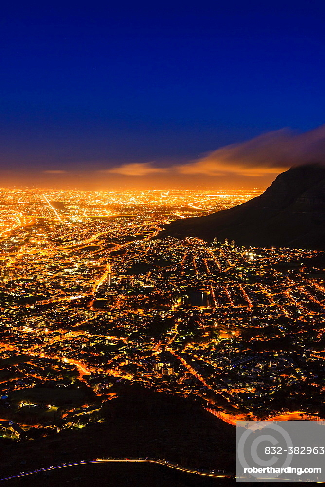 Cape Town at night, view from Lion's Head Mountain, Cape Town, Western Cape, South Africa, Africa