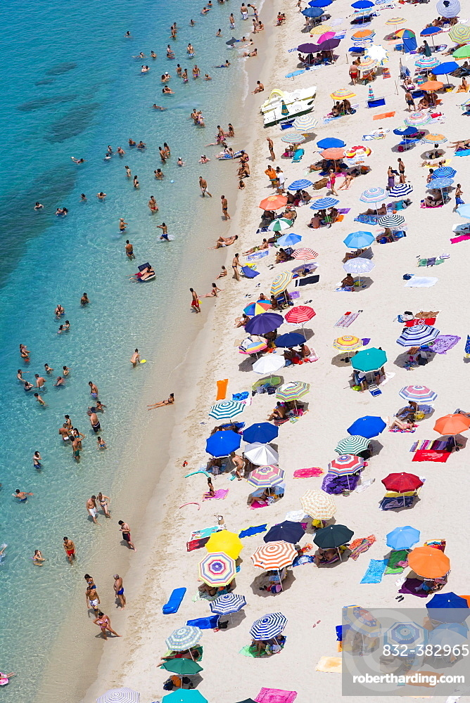 View of the beach from the terrace of Corso Vittorio Emmanuele, Tropea, Vibo Valentia, Calabria, Southern Italy, Italy, Europe