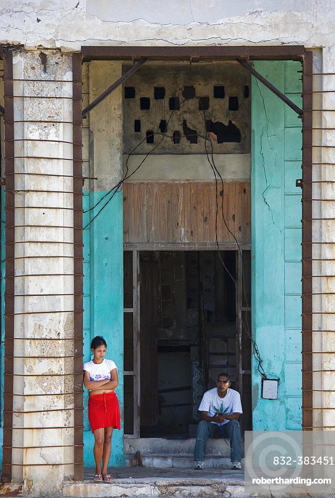 Run down facade, Old Havana, Havana, Cuba, Central America