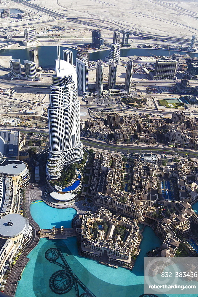 View from the Burj Khalifa on the Dubai Mall, the Fountain Lake and the The Address Downtown Dubai skyscraper, Dubai, United Arab Emirates, Asia