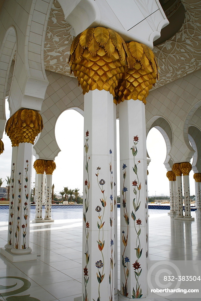 Decorated columns in Sheikh Zayed Mosque, Abu Dhabi, Emirate of Abu Dhabi, United Arab Emirates, Asia