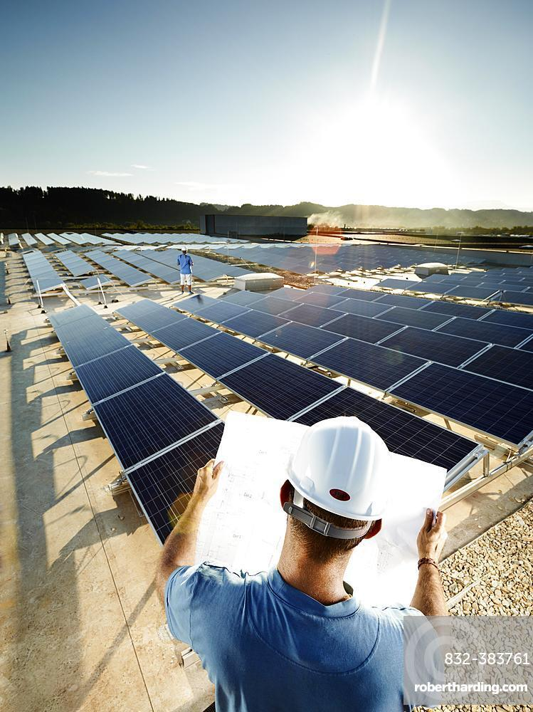 Solar installation technician studying a plan