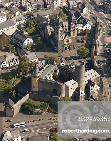 Aerial view, Genovevaburg castle, Mayen, Eifel mountain range, Rhineland-Palatinate, Germany, Europe