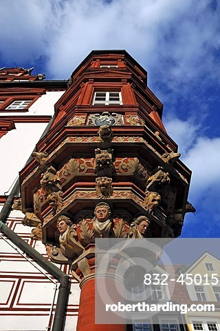 A two-storey polygonal Coburg oriel on the Stadthaus building, Renaissance building, built from 1597 to 1601, seen from below, market square, Coburg, Upper Franconia, Bavaria, Germany, Europe