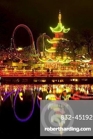 Tivoli by night, Copenhagen, Denmark, Europe