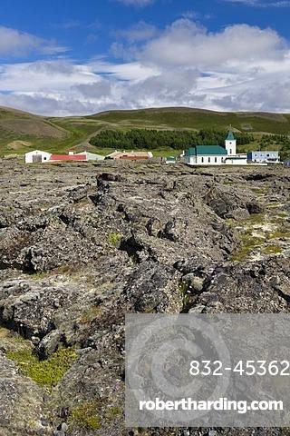 Lava field with old lava, Reykjahli or Reykjalid, M˝vatn, northern Iceland, Europe
