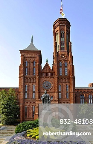 Statue of scientist Joseph Henry in front of the Smithsonian Institution Building, admin building and museum, known as
