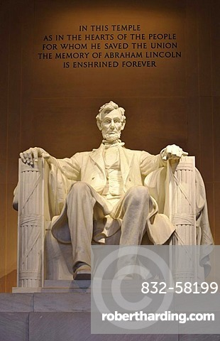 Statue of Abraham Lincoln by Daniel Chester French, Lincoln Memorial, Washington DC, District of Columbia, United States of America, USA