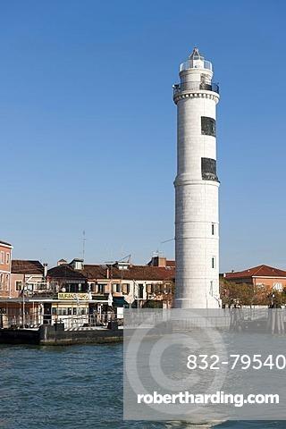 Lighthouse and vaporetto station Murano, lagoon island of Murano, Venice, Veneto, Italy, Southern Europe