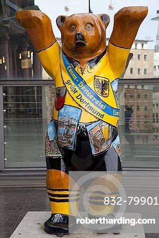 Black and yellow bear mascot, Borussia Dortmund, Bensersiel, Dortmund, Ruhr area, North Rhine-Westphalia, Germany, Europe