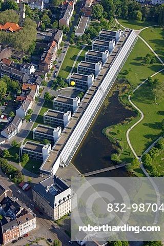 Aerial view, Zeche Vereinigte Rheinelbe & Alma, Rheinelbe 6 pit at the Wissenschaftspark Science Park, Gelsenkirchen, Schachtzeichen RUHR.2010 art installation, Ruhrgebiet region, North Rhine-Westphalia, Germany, Europe
