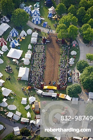 Aerial view, historical market with tournaments in the park of Schloss Broich castle, Muelheim an der Ruhr, Ruhrgebiet region, North Rhine-Westphalia, Germany, Europe