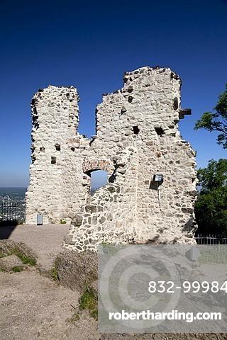 Burg Drachenfels castle ruins, Koenigswinter, Rhineland, North Rhine-Westphalia, Germany, Europe