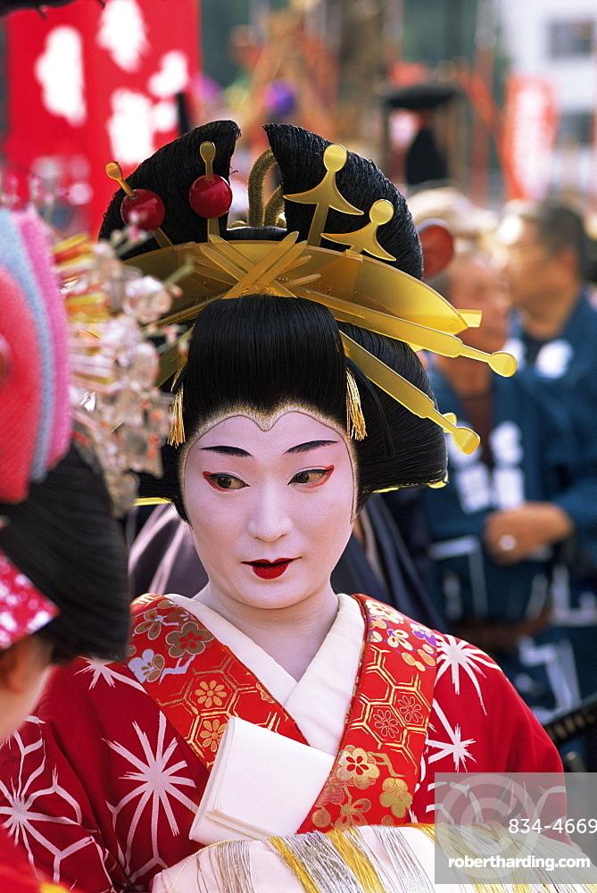 Geisha at Jidai Matsuri Festival held annually in November at Sensoji Temple Asakusa, Tokyo, Honshu, Japan, Asia