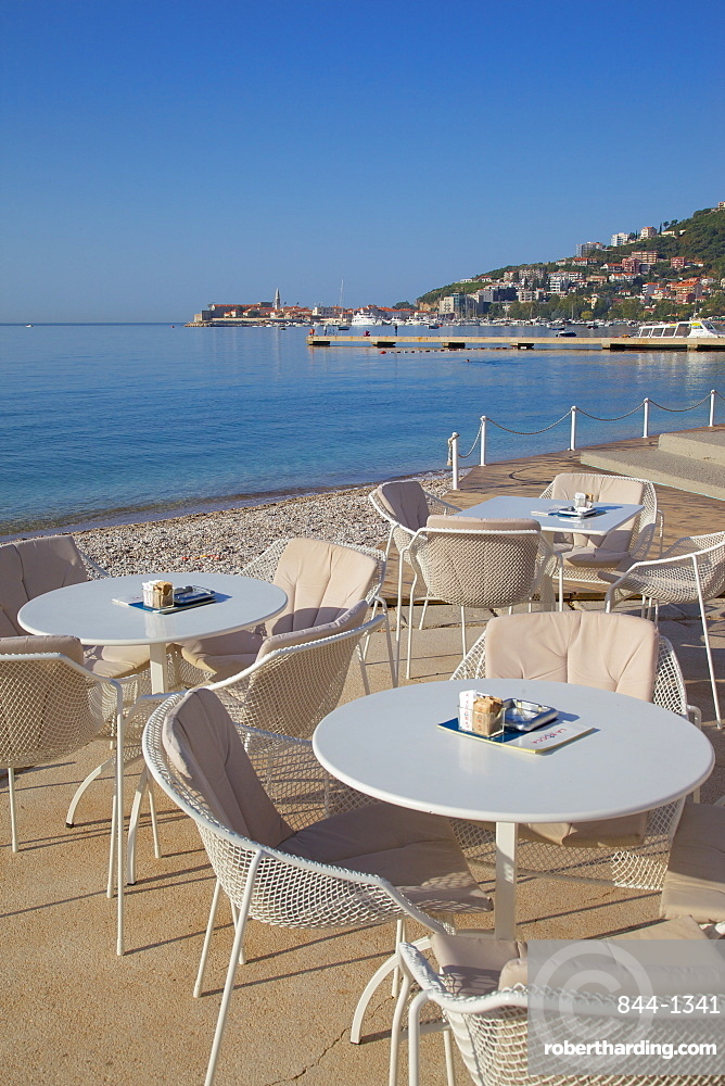 View of Budva Old Town and cafe, Budva Bay, Montenegro, Europe